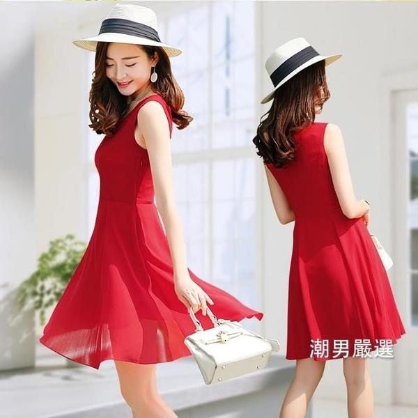 無袖洋裝正韓雪紡淑女連身裙女夏新品甜美氣質修身無袖紅色裙子中長版S-3XL