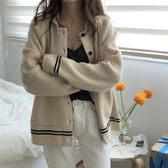 梨卡 - 秋冬氣質甜美純色寬鬆單排釦保暖毛衣風衣針織外套BR120