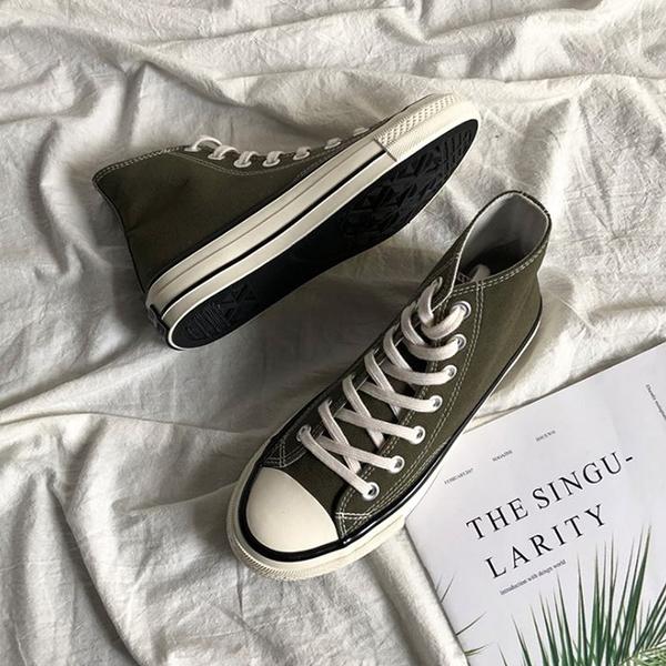 X-INGCHI 男女款基本款橄欖綠高筒帆布鞋-NO.X0259