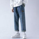 寬鬆牛仔褲男士夏季薄款直筒九分休閒長褲子男褲韓版潮流百搭闊腿