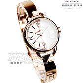 GOTO 閃耀晶鑽羅馬簡約腕錶 不銹鋼 女錶 玫瑰金電鍍x白 GS1377L-44-241 防水手錶