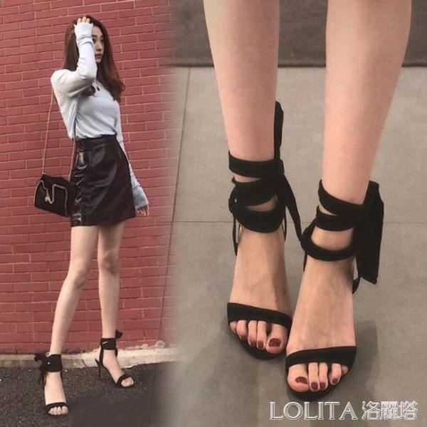 涼鞋女2019夏季新款小ck一字帶蝴蝶結百搭仙女細跟露趾綁帶高跟鞋 LOLITA