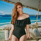 Qmigirl 泳裝【WET317】連身一字肩荷葉邊蕾絲袖性感泳衣 溫泉 沙灘 BIKINI