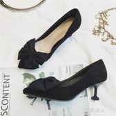 黑色高跟鞋女夏季新款貓跟鞋 尖頭細跟5CM蝴蝶結單鞋春天中跟 完美情人