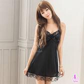 日系黑色柔緞細肩帶連身睡衣 性感情趣睡衣 女性衣著【發現生活】