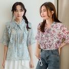 現貨-MIUSTAR 花朵系女孩!荷葉綁結雪紡上衣(共2色)【NJ0999】