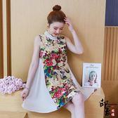 大尺碼洋裝立領棉麻無袖連身裙寬鬆A字中裙 618降價
