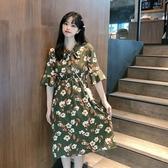 雪紡洋裝2020夏季新款韓版短袖花朵雪紡連身裙收腰顯瘦大擺裙子學生女裝潮 suger