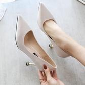 單鞋女2019新款法式少女高跟鞋女韓版尖頭7CM細跟百搭性感伴娘鞋 快速出貨