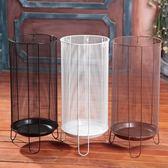 雨傘桶家用歐式鐵藝創意酒店大堂落地式放雨傘的架子居家收納桶 自由角落