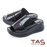 TAS 雙側鏤空寬繫帶厚底楔型拖鞋-個性黑