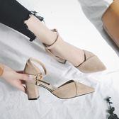 新款粗跟鞋 女時尚韓版一字扣小清新氣質包頭 LR2416【每日三C】