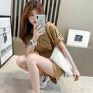 夏季2021新款短袖收腰工裝連身褲女薄款高腰捲邊闊腿連衣短褲套裝 蘿莉館品