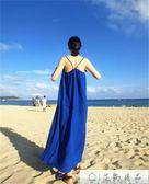 大碼無袖吊帶海邊沙灘連身裙