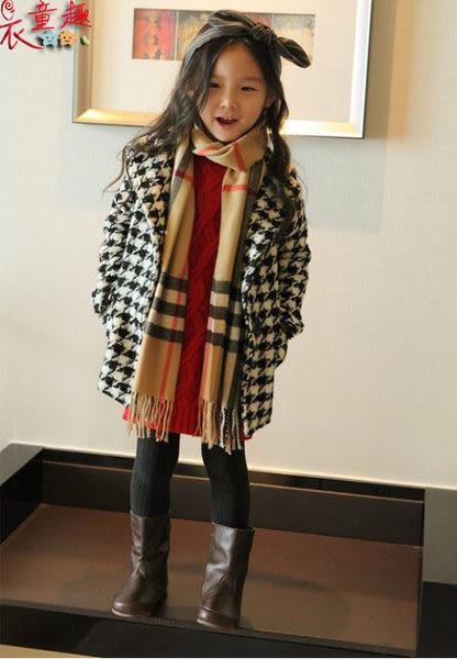 衣童趣 ♥韓版 時尚秋冬 毛呢 氣質 女童千鳥格紋 長版外套 大衣 女童外套【現貨】