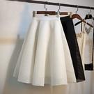 蓬蓬裙 春夏網紗格子鏤空高腰蓬蓬大擺中長款傘裙a字型太空棉半身裙-Ballet朵朵
