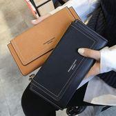 韓版時尚長款錢夾復古磨砂錢包層皮夾卡包女包學生【非凡上品】h462