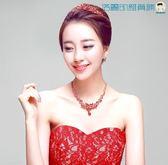 時尚新娘皇冠頭飾韓式紅色王冠髮飾