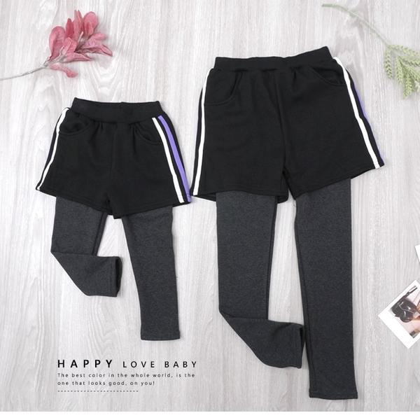 女小童 純棉 兩側螢光設計雙口袋假兩件內搭褲 不倒絨內裡 保暖 女童長褲 厚 兒童長褲 冬童裝