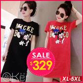 老鼠圖案長版T恤 S-3XL O-ker歐珂兒 165957-C