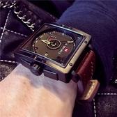 完封高麗菜戶外錶 男士大錶盤軍錶特種多功能男錶戶外皮帶手錶高檔防水方形手錶