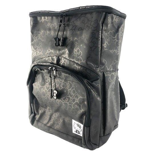 小禮堂 Hello Kitty 全開式皮質後背包 運動背包 休閒背包 書包 (黑 滿版) 0840805-13607
