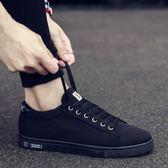 歡慶中華隊韓版小黑鞋男全黑色休閒帆布板鞋男士純黑色工作潮鞋子老北京布鞋