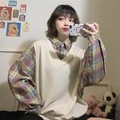 秋裝少女感穿搭復古寬鬆假兩件上衣長袖學生學院風格子襯衫女鹽系-Milano米蘭