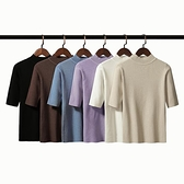 針織上衣 韓版2019新款女裝中袖針織衫半高領毛衣女修身緊身五分袖打底上衣