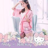 居家服 Hello Kitty x Ruby 聯名款.條紋印花綁帶日式浴衣-粉紅色-Ruby s 露比午茶