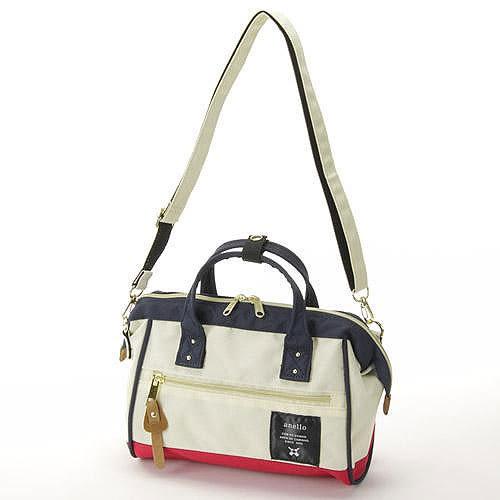 anello 紅白色 小側背手提兩用包 日本帶回正版 帆布水洗 A5放的下! AT-H0851
