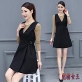 背心裙2020年新款韓版OL氣質流行洋氣減齡背帶連身裙子 LF1603【花貓女王】