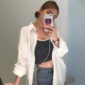 雪紡外套開衫防曬衣女外套白色寬鬆夏秋學生韓版潮BF襯衣復古雪紡襯衫