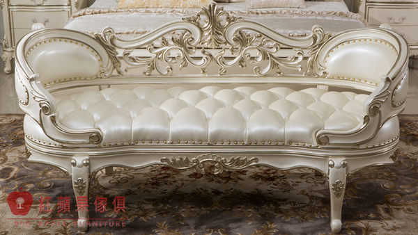 [紅蘋果傢俱]01 新古典 床尾凳 矮凳 穿鞋凳 法式 歐式 奢華貴族 金銀箔