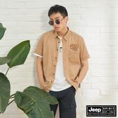 【JEEP】男裝 率性簡約印花短袖襯衫-卡其
