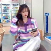 促銷九五折 Polo套頭毛衣女裝寬松外穿新款秋冬季法式慵懶風條紋針織衫潮