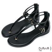 DIANA簡約韓風--金屬水滴型鏤空夾腳涼鞋(黑)★特價商品恕不能換貨★