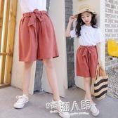 夏裝女童寬管褲新款韓版中大童寬鬆褲子兒童洋氣五分褲中褲  9號潮人館
