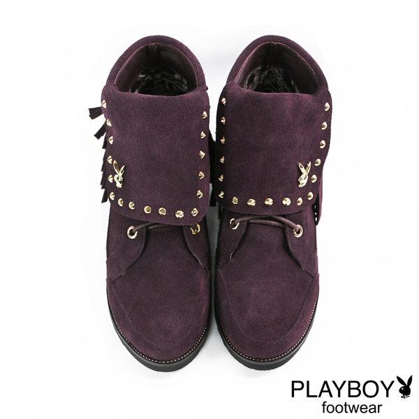 PLAYBOY 鉚釘流蘇麂皮短靴-酒紅