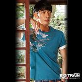 BIG TRAIN 雲海怒龍圓領T-男-靛藍