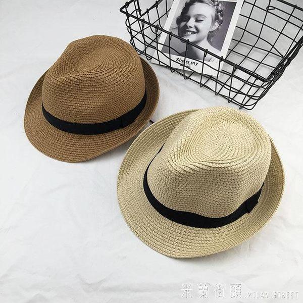 草帽 夏天小禮帽韓國版女士太陽帽遮陽防曬沙灘海邊度假英倫嚼士草帽子 米蘭街頭