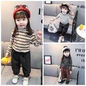 女寶寶長袖打底衫加絨嬰兒t恤打底衫0-1-2-3-4-5歲女童條紋高領衫 薇薇