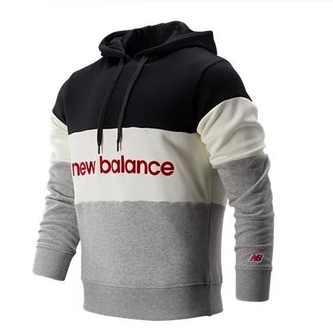 NEW BALANCE NB 黑 白 灰 紅英文logo 拼接 刷毛 帽T 男 (布魯克林) AMT93545BKW