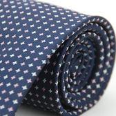 【Alpaca】深藍粉白十字紋領帶