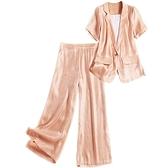 短袖套裝(三件套)-珠光西裝高腰闊腿褲女褲子73yd20[時尚巴黎]