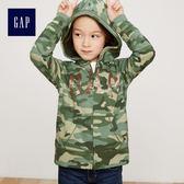 Gap女童 亮片LOGO連帽休閒上衣 兒童開襟長袖外套童裝 333666-迷彩