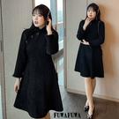 (現貨+預購FUWAFUWA)- 加大尺碼中國風保暖旗袍長袖洋裝小禮服