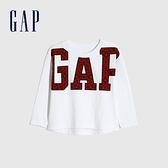 Gap女幼童 Logo創意印花圓領長袖T恤 656556-白色