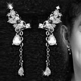 耳環 925純銀鑲鑽-氣質水滴生日七夕情人節禮物女耳飾73du5[時尚巴黎]