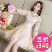 洋裝 韓版 長袖蕾絲婚禮小禮服 派對連身裙 花漾小姐【現+預】